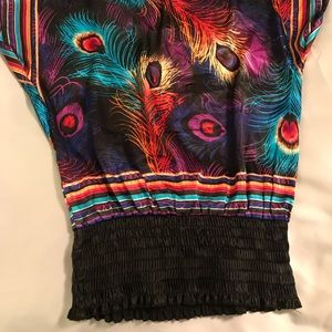 Tops - Peacock Multi-Colored Silky Blouse